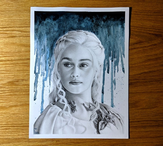 Daenerys Targaryen Game Of Thrones Graphite And Gouache Etsy