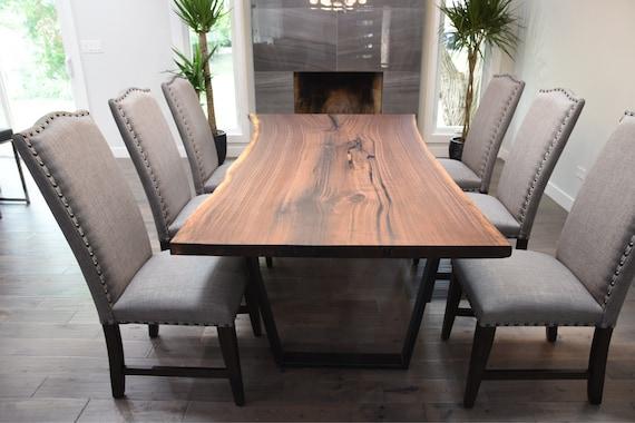 Single Slab Black Walnut Live Edge Dining Table Etsy