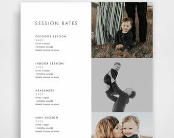 Photography Pricing Template, Photography Price List, Photography Price Sheet, Photographer Pricing, Photoshop Template, Pricing Guide
