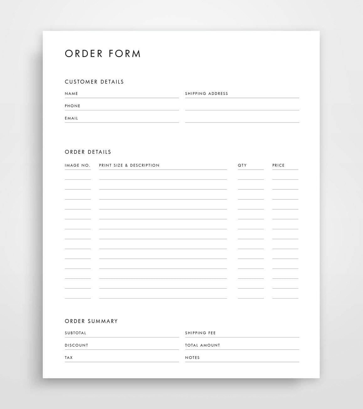 Order Form Template Photography Order Form Order Form Etsy