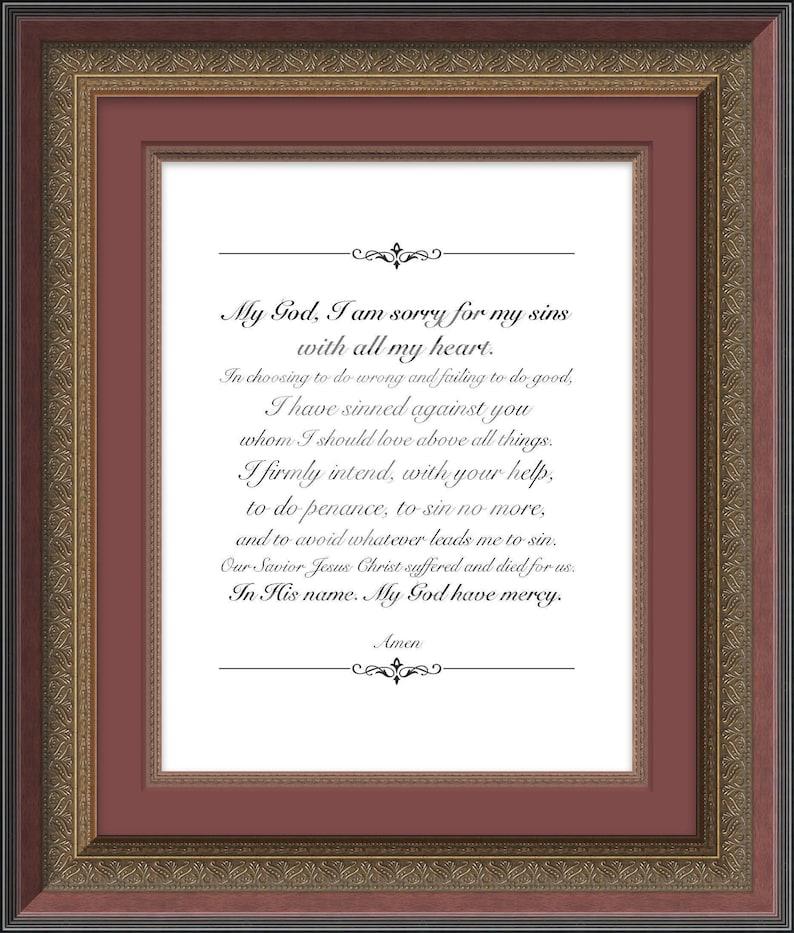 photograph regarding Act of Contrition Prayer Printable named Act of Contrition, Christian Prayer Print, Spiritual Wall Artwork, Catholic Print, Affirmation Reward, Baptism Reward, Christian Print