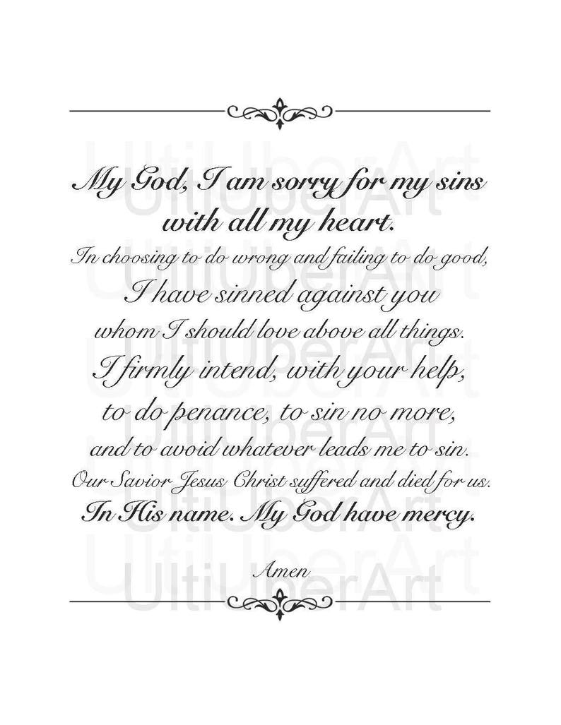 picture regarding Act of Contrition Prayer Printable named Act of Contrition, Christian Prayer Print, Non secular Wall Artwork, Catholic Print, Affirmation Reward, Baptism Reward, Christian Print