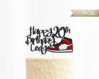 Custom Happy Birthday Shoe Cake Topper