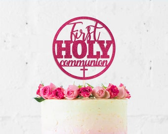 First Holy Communion Circle Cake Topper