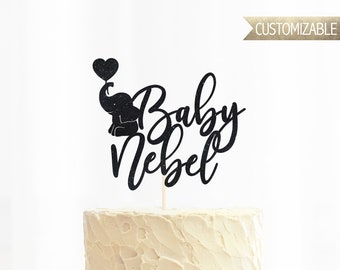 Custom Baby Name with Elephant Cake Topper