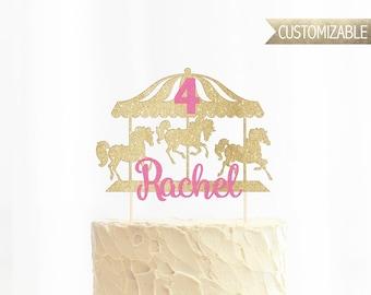 Custom Carousel Glitter Cake Topper