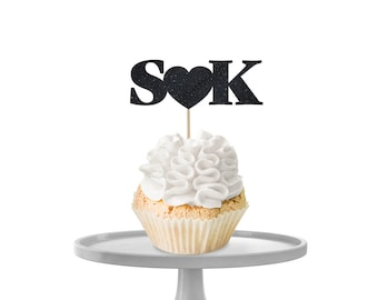 Heart & Initials Cupcake Toppers