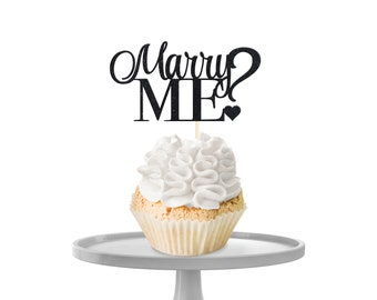 Glitter 'Marry Me?' Cupcake Toppers