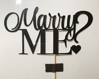 Marry Me? Cupcake Topper / Will You Marry Me? Topper / Proposal Cake Topper / Valentine's Day Topper / Engagement Topper