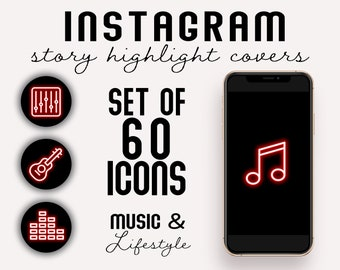 Set of 60! Neon Red Music Artist Instagram Story Highlight Covers