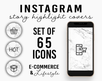Set of 65 E-Commerce & Lifestyle Instagram Story Highlight Covers