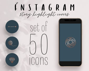Set of 50! Rose Gold & Dark Teal Instagram Story Highlight Covers