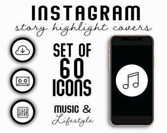 Set of 60 Black on White Music & Lifestyle Instagram Story Highlight Covers