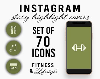 Set of 70 Fitness & Lifestyle Instagram Story Highlight Covers