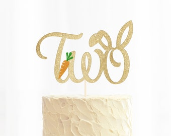 Bunny Two Glitter Cake Topper