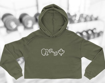 White Classic Logo Cropped Hoodie
