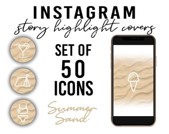Set of 50! Sand Instagram Story Highlight Covers