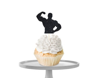 Flexing Man Cupcake Toppers