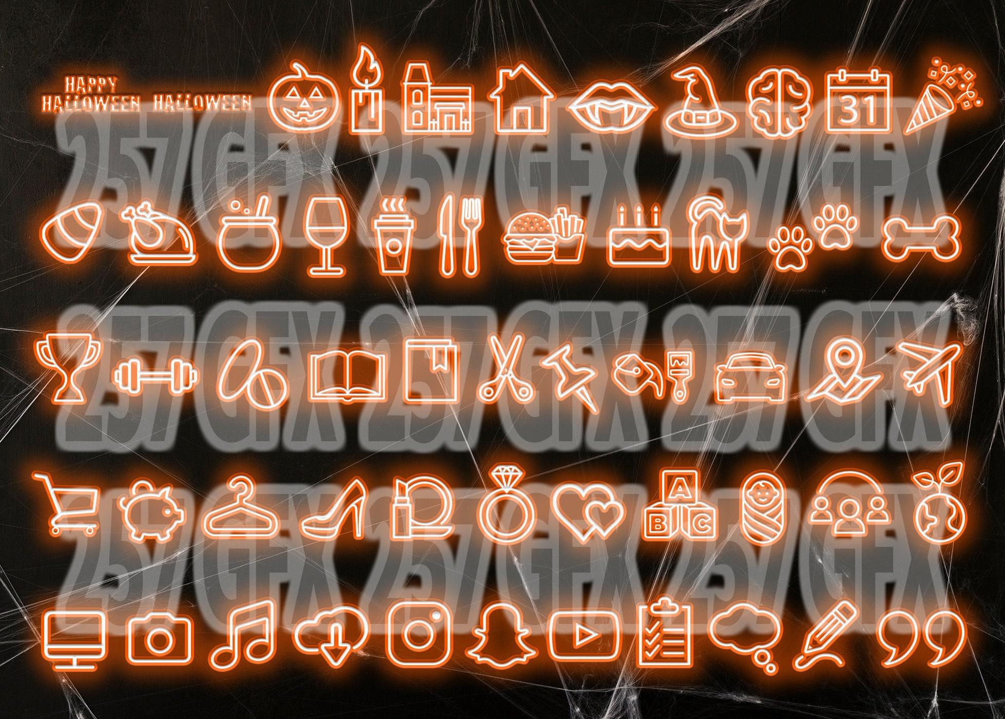 Set Of 55 Neon Orange Halloween Instagram Story Highlight Covers