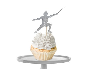 Fencing Silhouette Cupcake Toppers