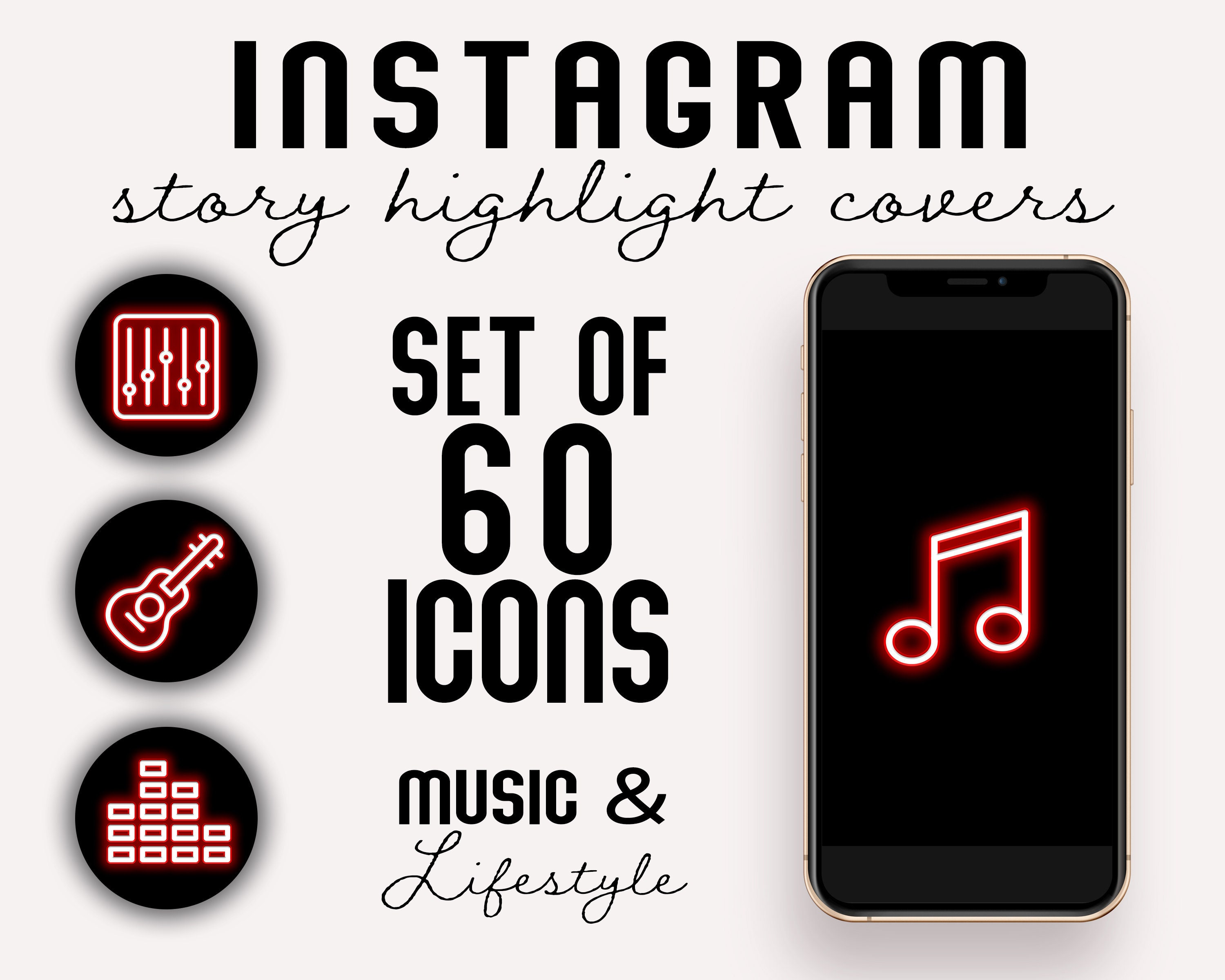 Set Of 60 Neon Red Music Artist Instagram Story Highlight Covers
