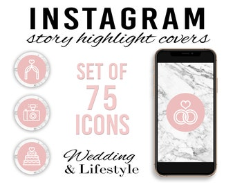 75 Blush & Marble Wedding Instagram Story Highlight Covers