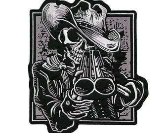 60b9391e061 HUGE Double Barrel Shotgun Skull Large Motorcycle Jacket Embroidered Patch  Cowboy Bandido 12.5