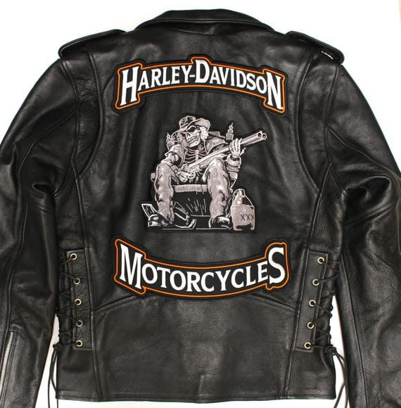"""Lucky 7 Live To Ride Skull Chopper Large Motorcycle Jacket Back Patch 10.5/"""""""