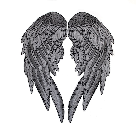 cc13d659ecb 14.5 ANGEL WINGS Patches Black Silver Festival Lady