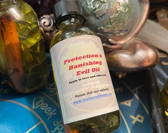 Protection Banishing Oil, Conjuring oil, remove negative spirits Psychic Attacks & Evil Intentions Hoodoo Wicca Pagan