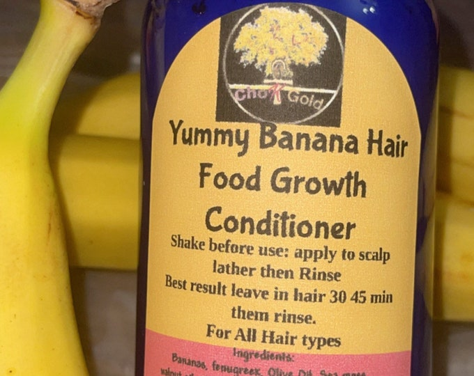Banana Hair Food Growth Conditioner  with real organic bananas, Fenugreek and Honey. All hair types