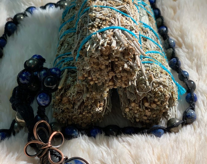 3 ( Three) Smudging Blue Sage rid of spirits spiritual cleanse and crystals