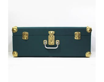 Large wooden trunk / teal / gold metal corners