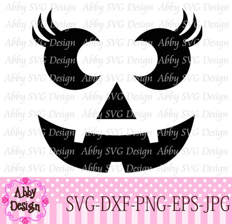 Halloween Pumpkin Face For Girls Cut File svgpngdxf and eps image 1