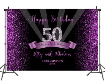 Happy Birthday Backdrops For Photography Custom Women Fabulous 50th Backdrop Sparkle Purple Glitter Dots Photo Booth Background