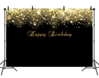Happy Birthday Backdrop Banner Black And Gold Golden Glitter Adults Children Party Background Dessert Table Decoration