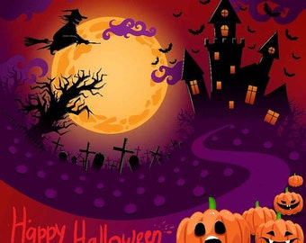 happy halloween backdrop horror night fairy tale house pumpkin face bat party banner decor photography background for photo booth