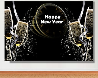 new years eve party photo backdrop sparkly glitter gold champagne glass clock holiday photography backdrops studio background props