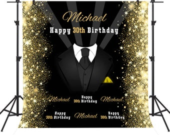 Custom 30th 40th Birthday Backdrop Man Suit Black And Gold Banner Fabric Photo Background Party Decoration Studio Props
