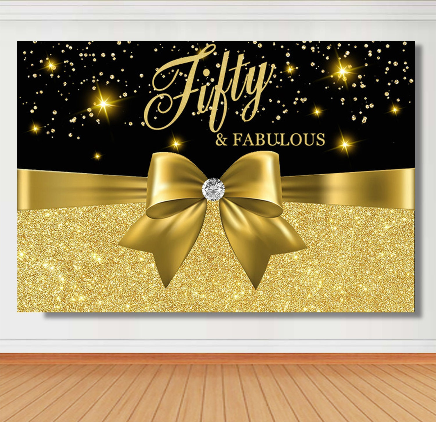 50 And Fabulous Backdrop: 30th 40th 50th Fabulous Birthday Backdrop Custom Black And
