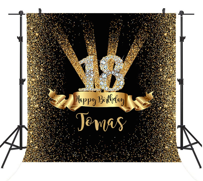 d6a5d302fa79f Black and Gold Backdrop Custom Happy Birthday Backdrop Glitter | Etsy