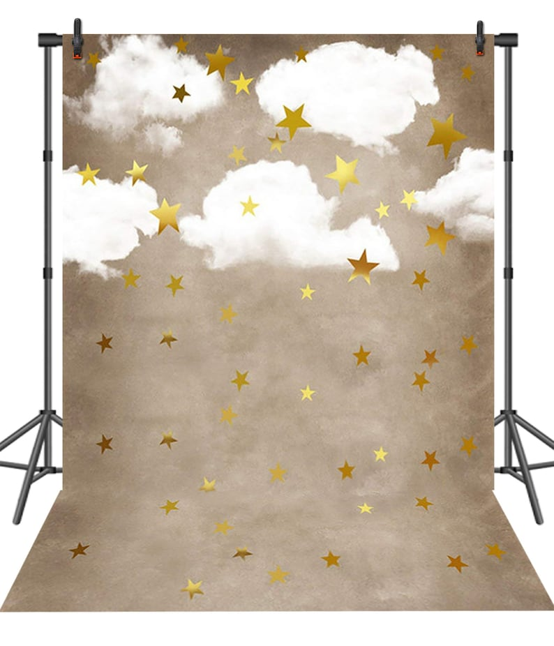 d6471e33abbf7 Kids Cute Cartoon White Cloud Photography Backdrop Gold Stars | Etsy