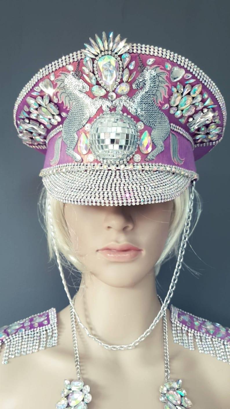 97b5c4191 Unicorn disco glitter Ball pink captain hat, burningman hat , festival hat,  headwear , bespoke hat, unique hat, sparkly, wow hat