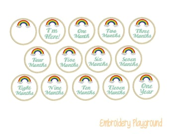 Rainbow Baby Milestone Markers - Embroidery Design - Design - Machine Embroidery - New Baby Announcement