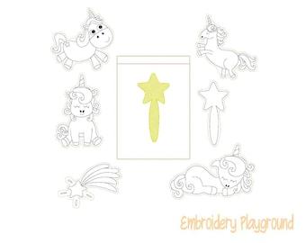 Unicorn Magic Coloring Feltie Set Embroidery Design - ITH Embroidery Design - Reusable Coloring Dolls