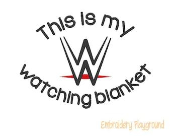 Wrestling Watching Blanket Embroidery Design - Plush Blanket Design