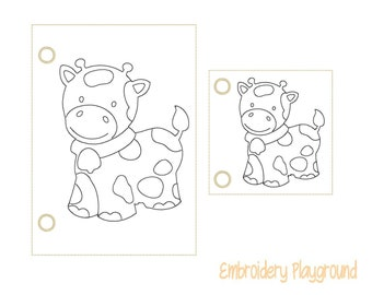 Cow Coloring Page Embroidery Design - ITH Embroidery Design - Reusable Coloring Page