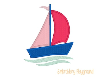 Sailboat Applique - Set Sail - Fun in the Sun  - Summer - Embroidery Designs -  Machine Embroidery Pattern