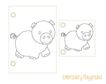 Pig Coloring Page Embroidery Design - ITH Embroidery Design - Reusable Coloring Page