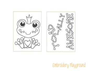 Toad-Ally Awesome Mini Coloring Page Embroidery Design - ITH Embroidery Design - Reusable Coloring Page